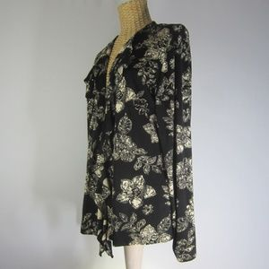 Chicos 2 Travelers Floral Black Ivory Cardigan L